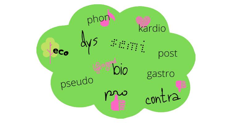 Griechische und lateinische Vorsilben, die man oft in deutschen und englischen Wörtern findet.