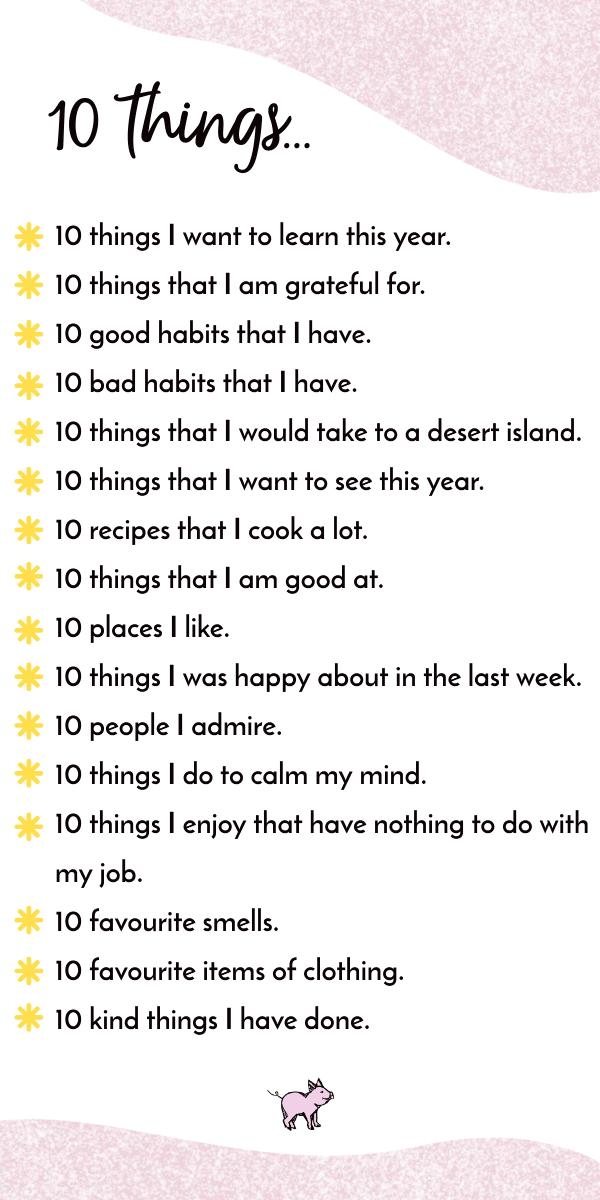 10-Dinge-Listen Ideen